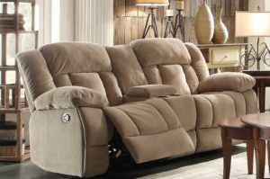 Double recliner leather chair